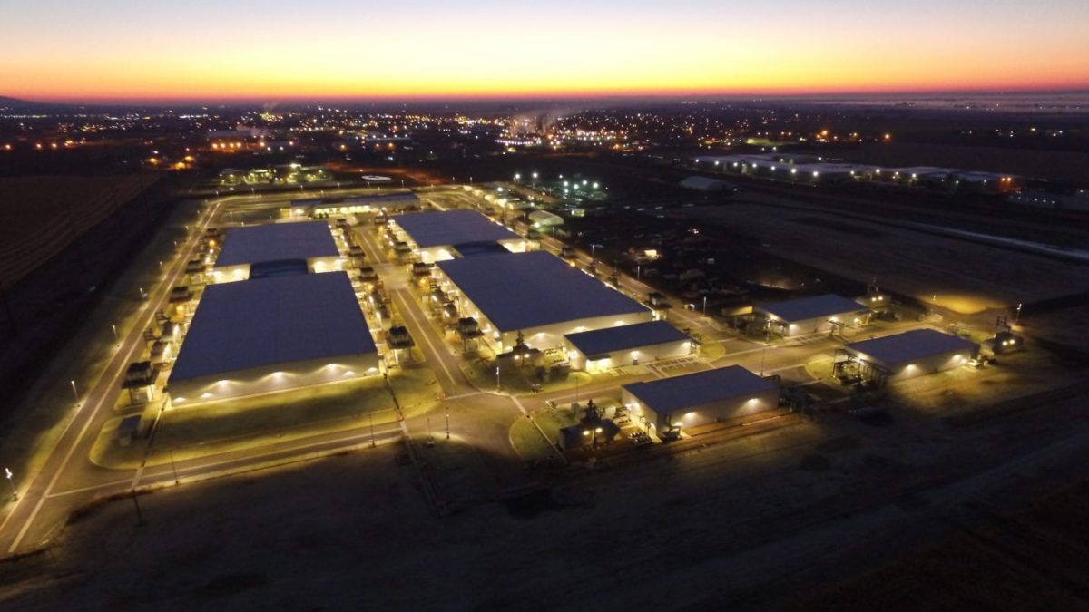 aerial photo of Microsoft data center at night